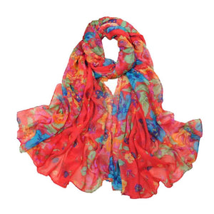 BRIGHT FLORAL SCARF | RED