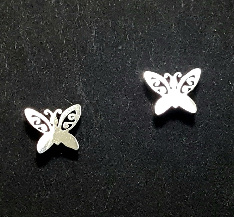 Miniature Stainless Steel Butterfly Post Earrings - Lunga Vita Designs