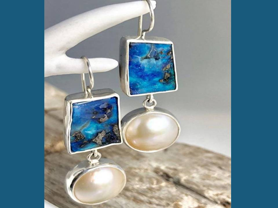Blue Resin Rectangle Dangle Earrings with Sexy Faux Pearl - Lunga Vita Designs