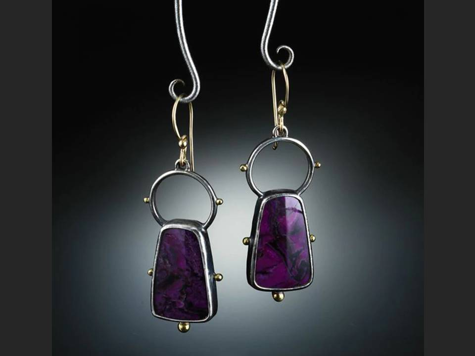 Eggplant Colored Resin Dangle Earrings - Lunga Vita Designs