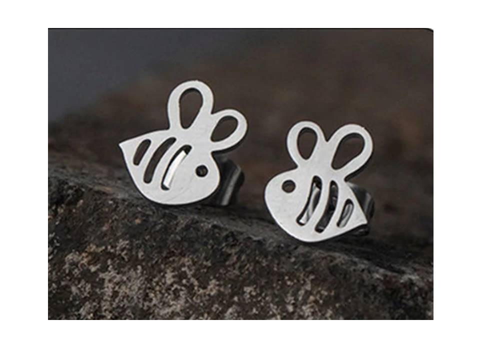 Stainless Steel Bee Mine Post Earrings - Lunga Vita Designs