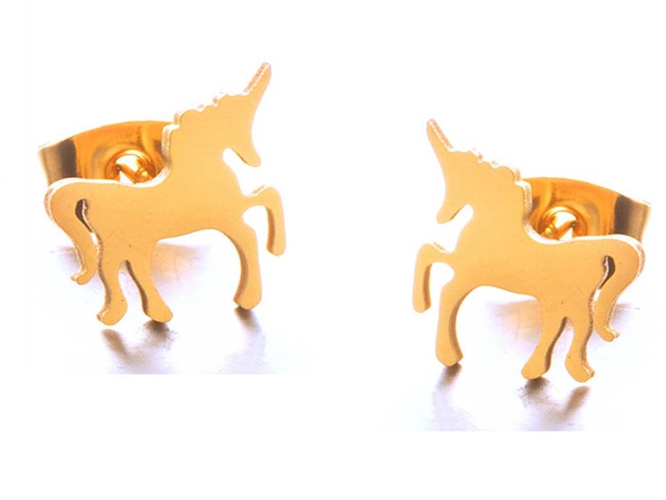 Magical Unicorn Plated Stainless Steel Post Earrings - Lunga Vita Designs