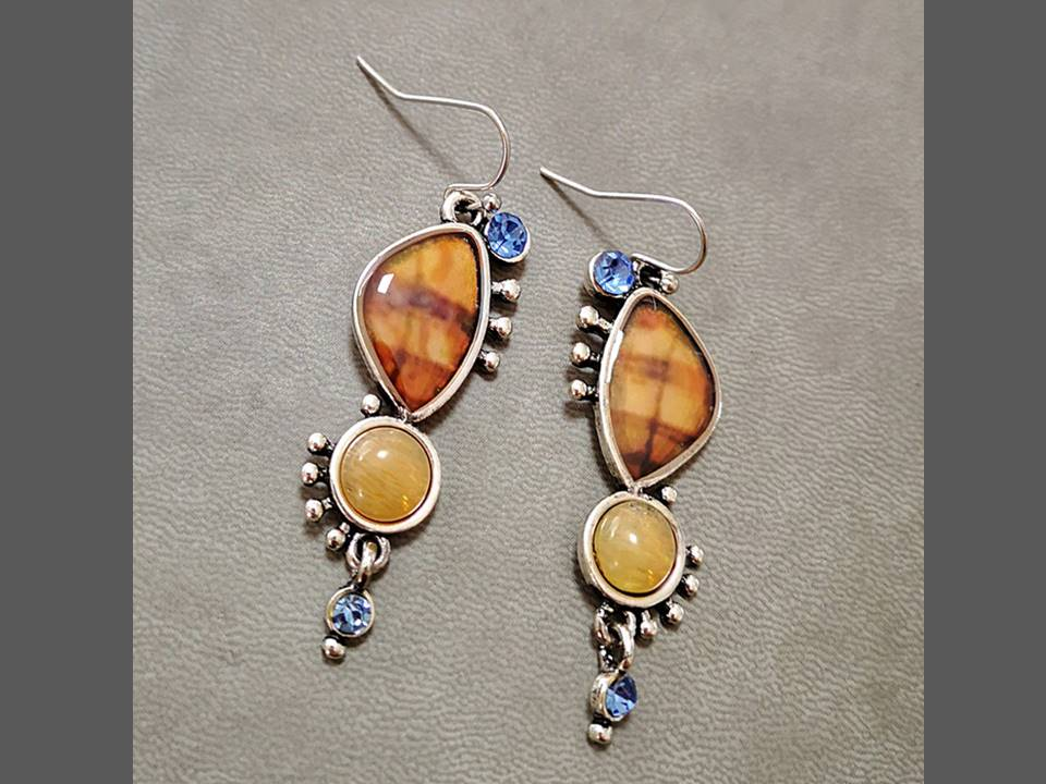 Artistically Shaped Deep Orange Resin Dangle Earrings - Lunga Vita Designs