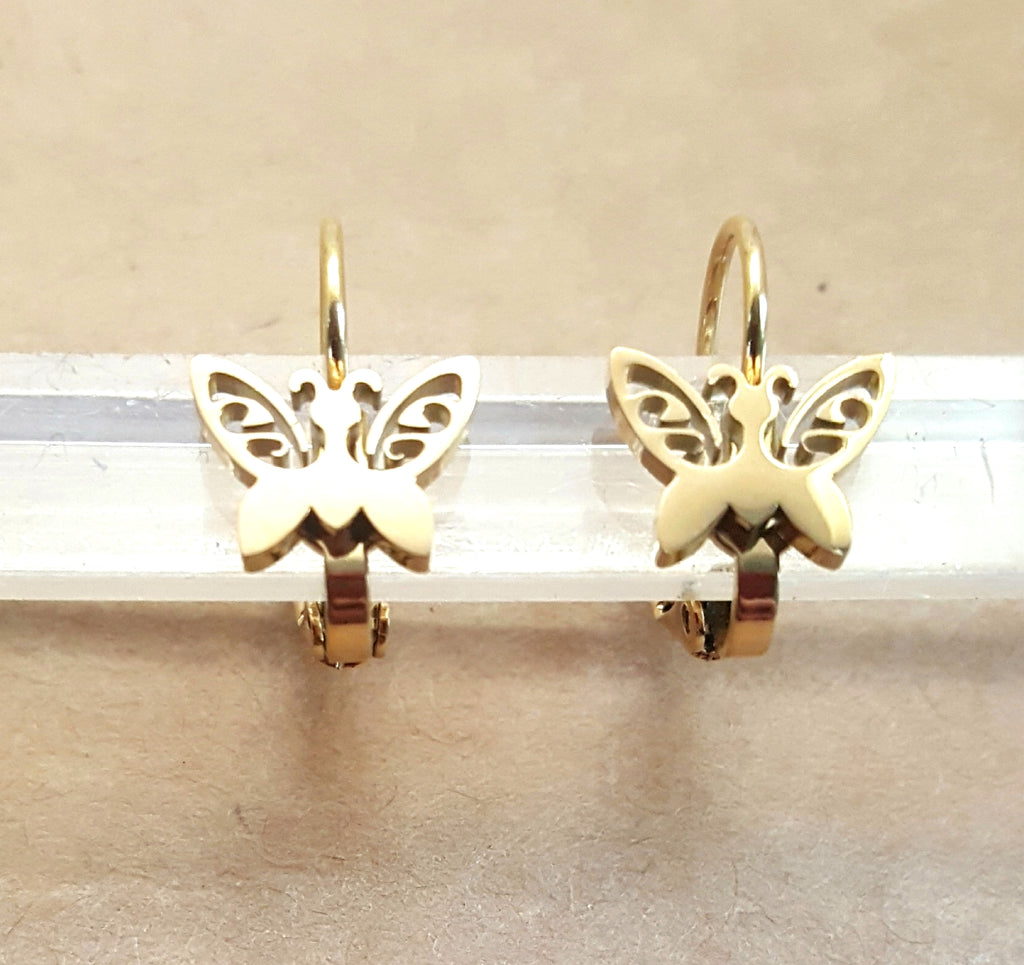 Butterfly Stainless Steel Lever Back Earrings | Gold Plated - Lunga Vita Designs