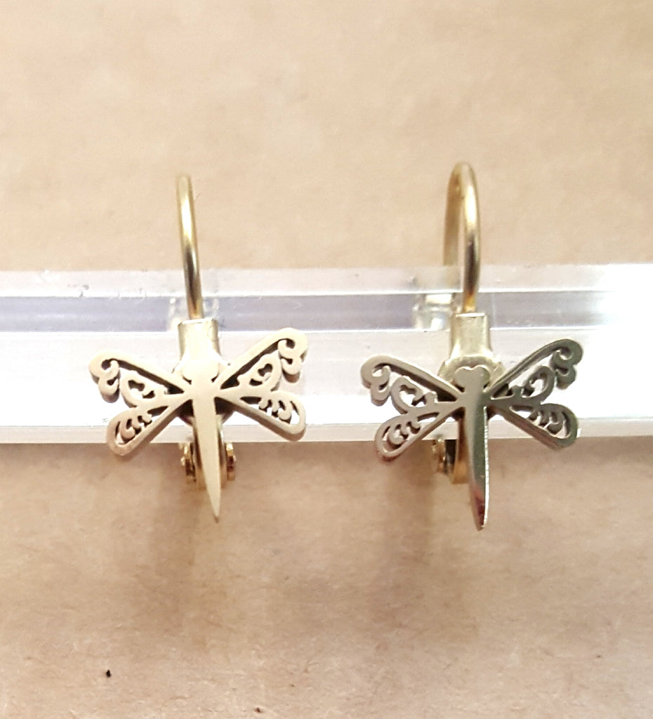 Dragonfly Stainless Steel Lever Back Earrings | Gold Plated - Lunga Vita Designs