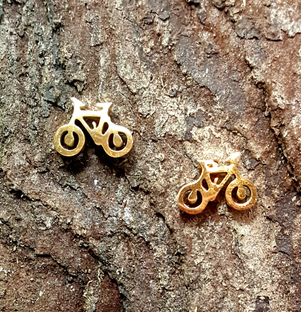 Stainless Steel Bicycle Post Earrings | Gold Plated - Lunga Vita Designs