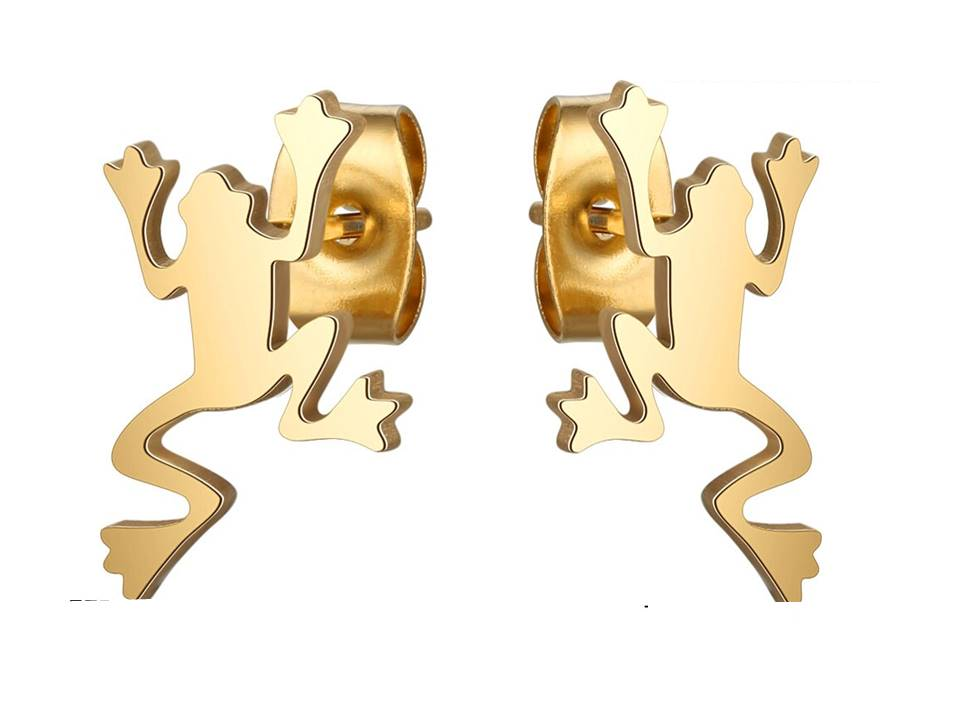 Leaping Frogs Stainless Steel Post Earrings | Gold Plated - Lunga Vita Designs