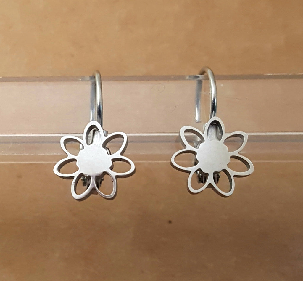 Stainless Steel Flower Lever Back Earrings - Lunga Vita Designs