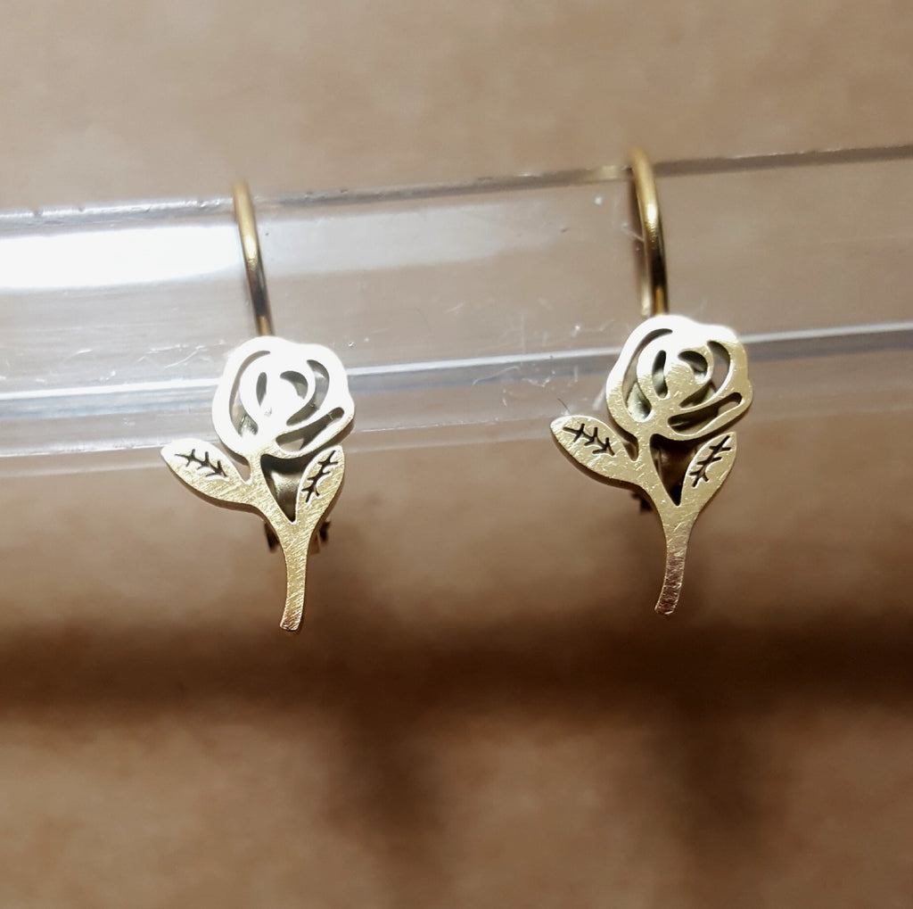 Rose Silhouette Lever Back Earrings | Gold Plated - Lunga Vita Designs
