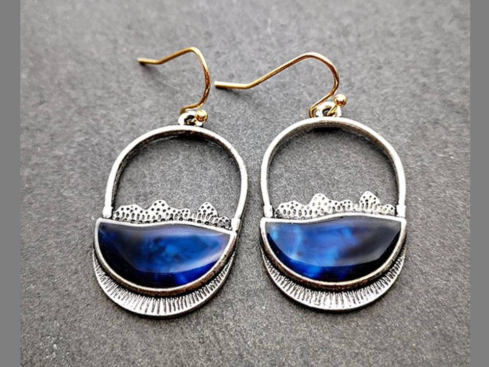 Deep Blue Resin Half Circle Earrings - Lunga Vita Designs
