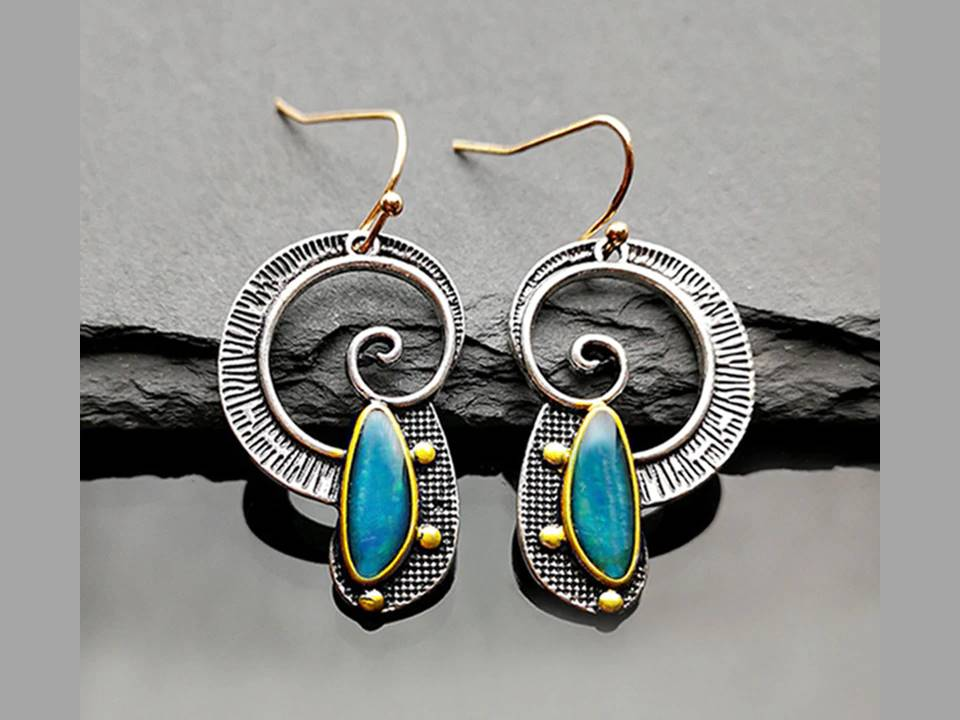 Aqua Resin Spiral Earrings - Lunga Vita Designs