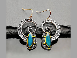 AQUA RESIN SPIRAL EARRINGS