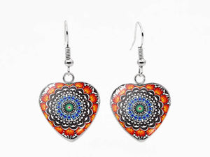 Glass and Stainless Steen Heart Shaped Dangle Earrings| Orange Mix - Lunga Vita Designs