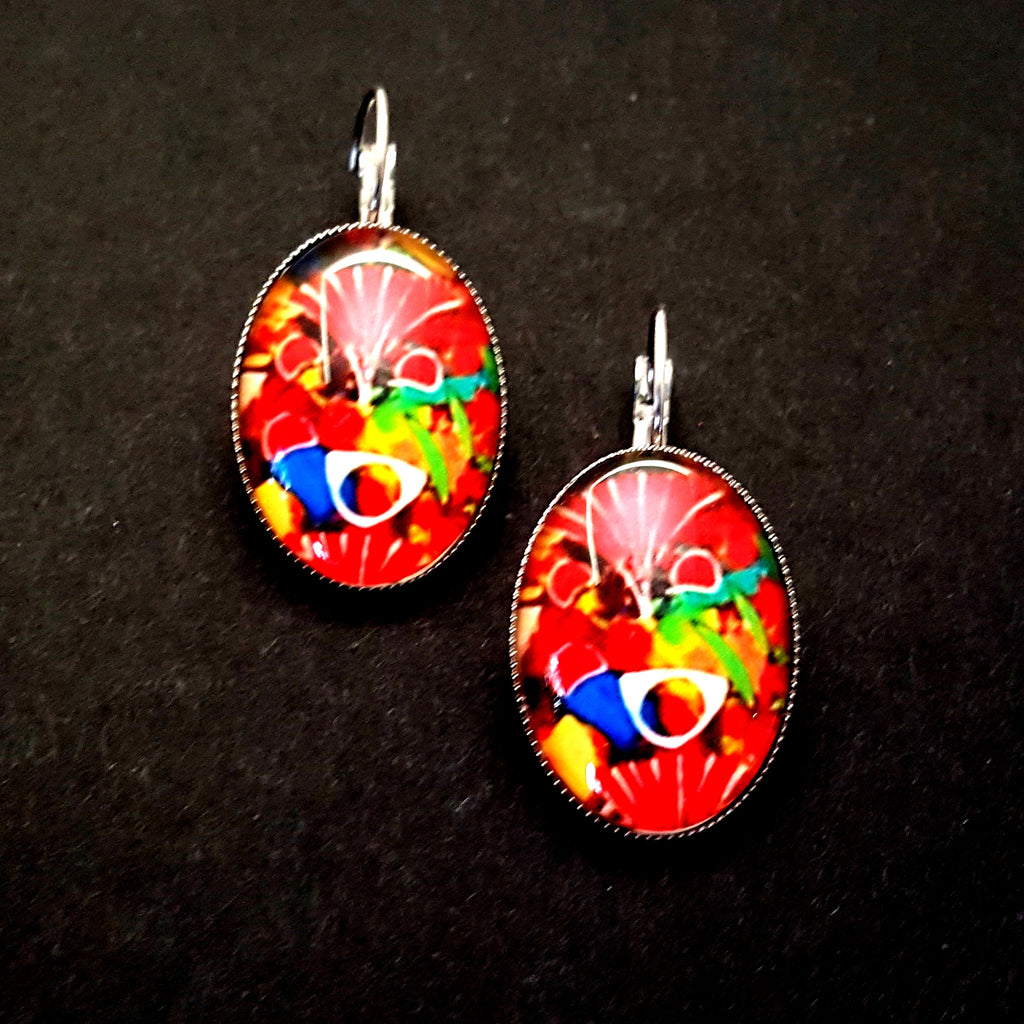 Oval Multicolored Festival Lever Back Earrings - Lunga Vita Designs