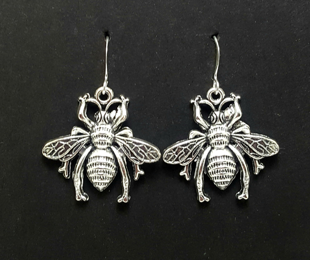 Bee Silver Dangle Earrings - Lunga Vita Designs