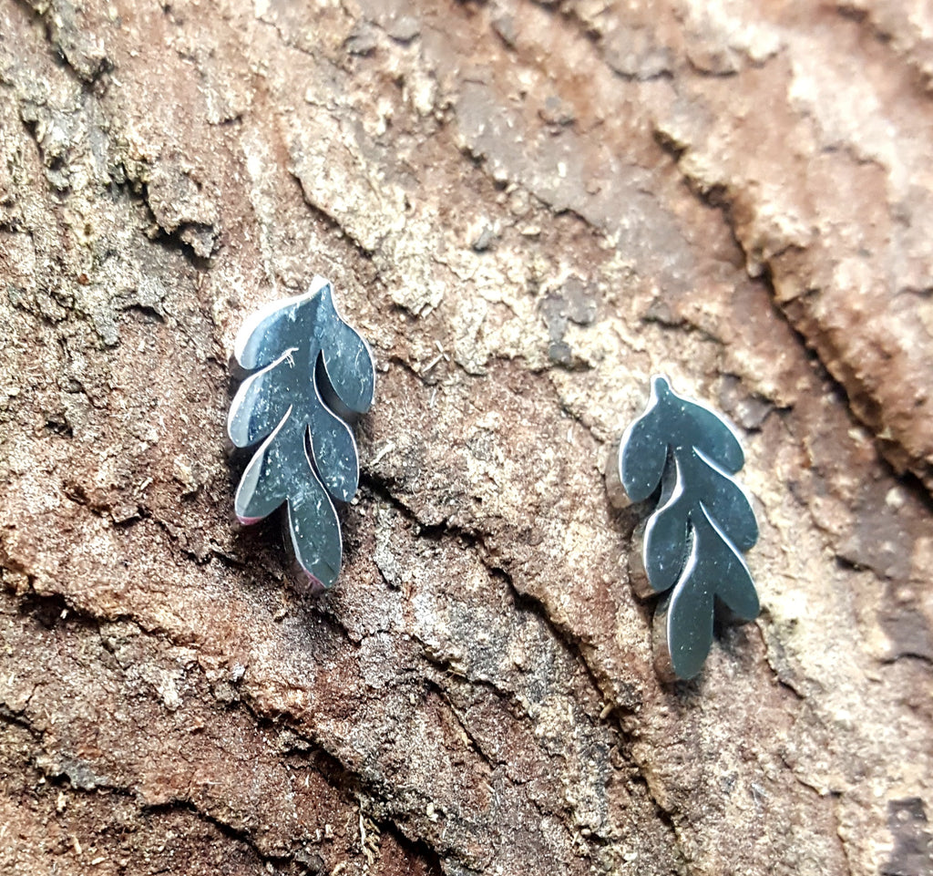 Stainless Steel Leaves Post Earrings - Lunga Vita Designs
