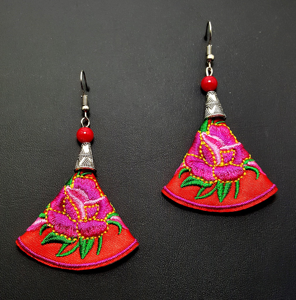Embroidered Floral Dangle Earrings | Red - Lunga Vita Designs