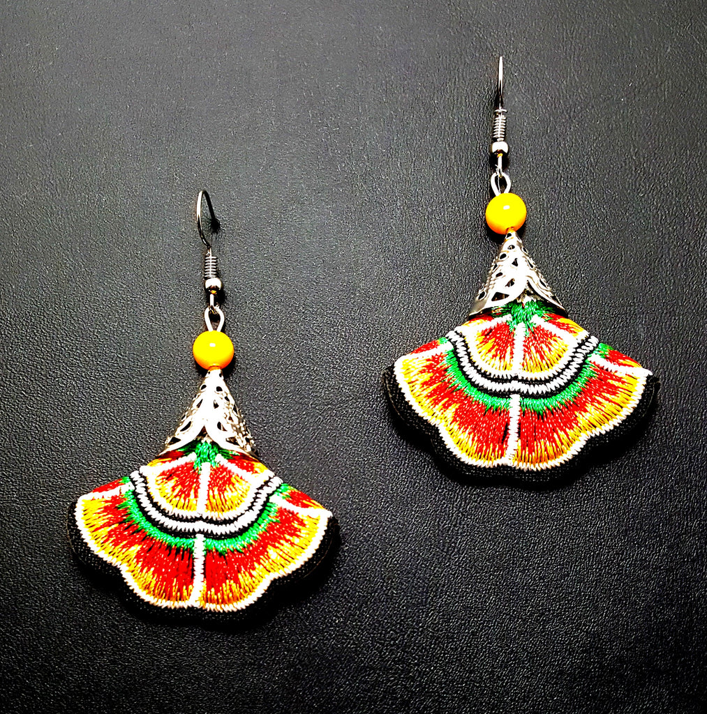 Embroidered Floral Dangle Earrings | Yellow - Lunga Vita Designs