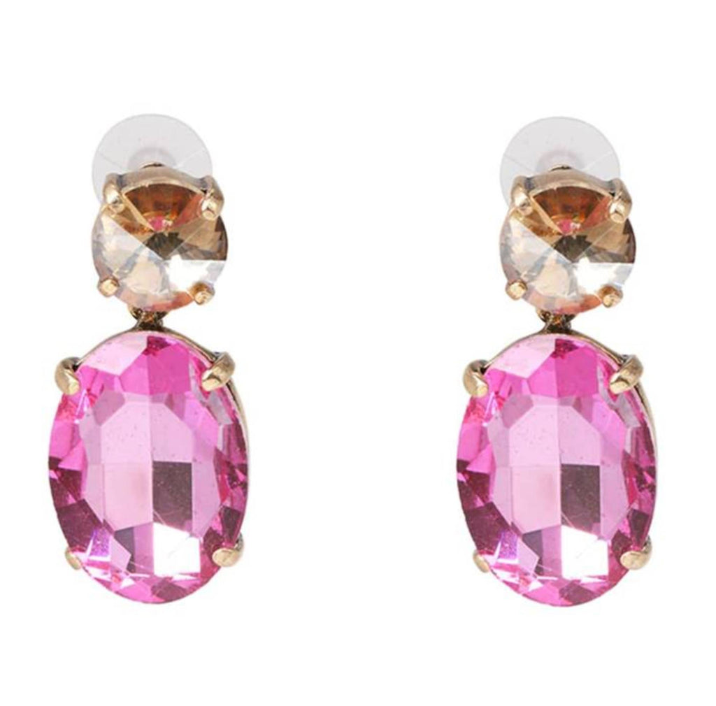 Champagne & Pink Oval Crystal Dangle Earrings - Lunga Vita Designs