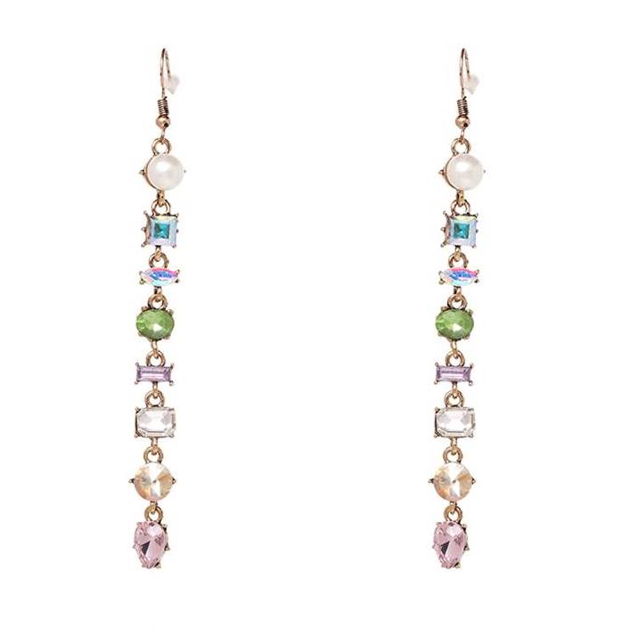 Long Linked Gem Dangle Earrings - Lunga Vita Designs