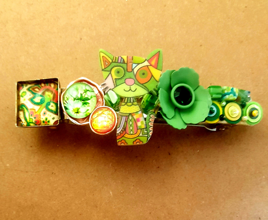 Colorful Cat and Mixed Media | Hair Barrette - Lunga Vita Designs