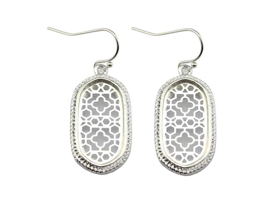 Small Framed Filigree Oval Dangle Earrings | Silver - Lunga Vita Designs