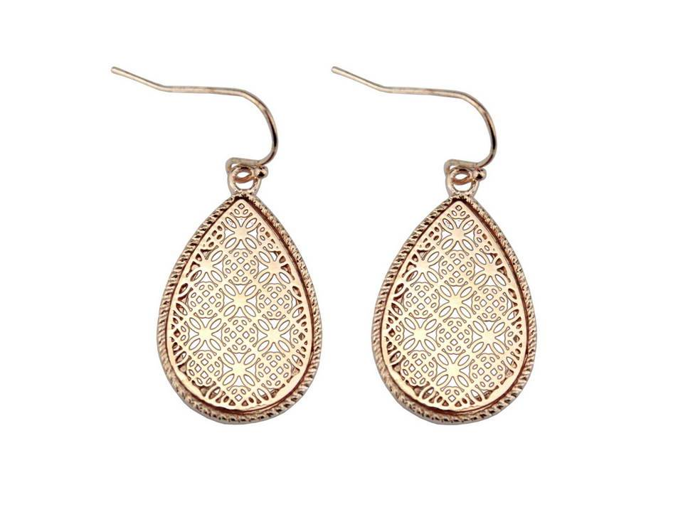 Small Gold Framed Filigree Teardrop Dangles - Lunga Vita Designs