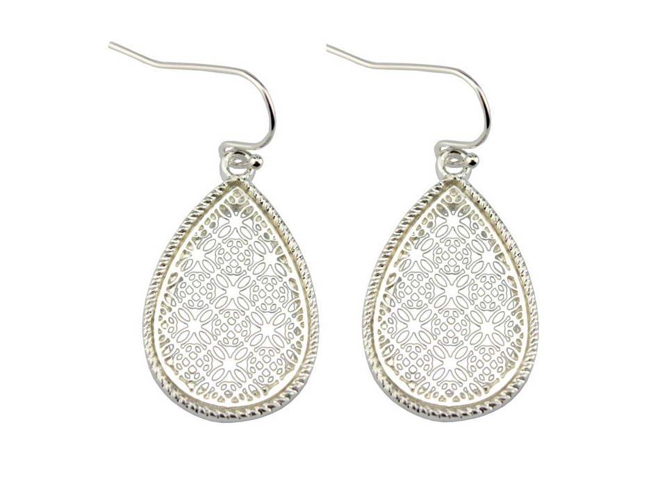 Small Silver Framed Filigree Teardrop Dangles - Lunga Vita Designs