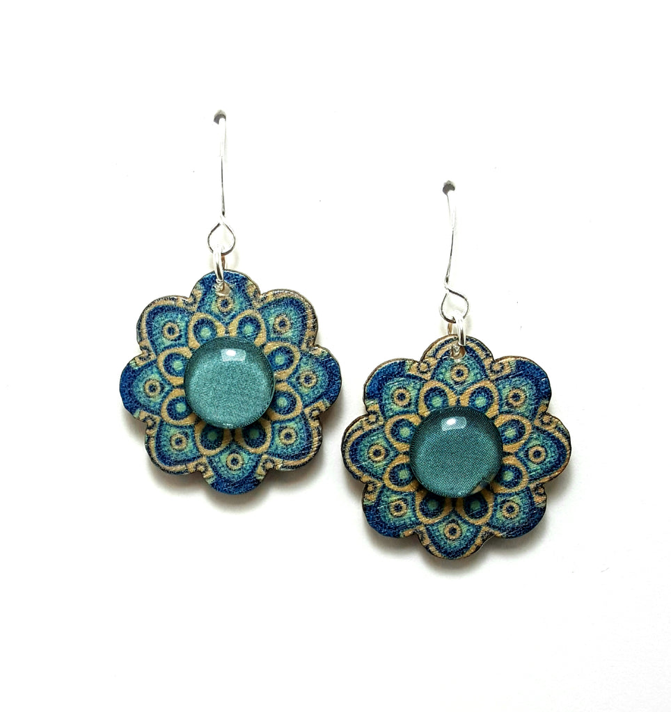 Aqua Wooden Flower Dangle Earrings - Lunga Vita Designs
