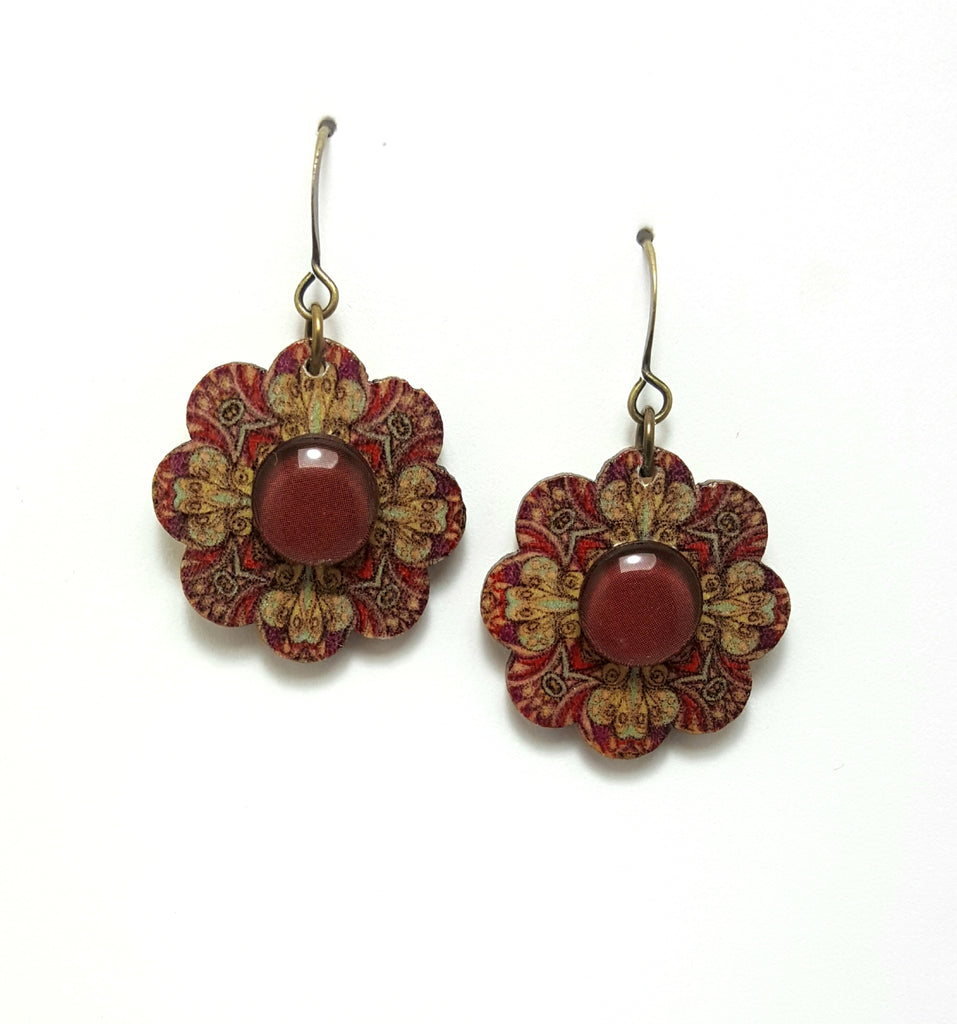 Burgundy Wooden Flower Dangle Earrings - Lunga Vita Designs