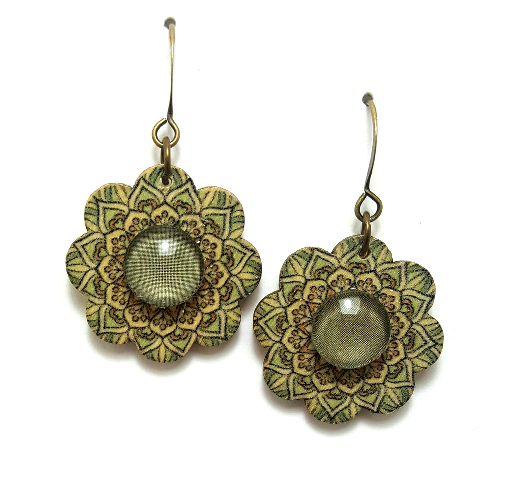 Olive Wooden Flower Dangle Earrings - Lunga Vita Designs