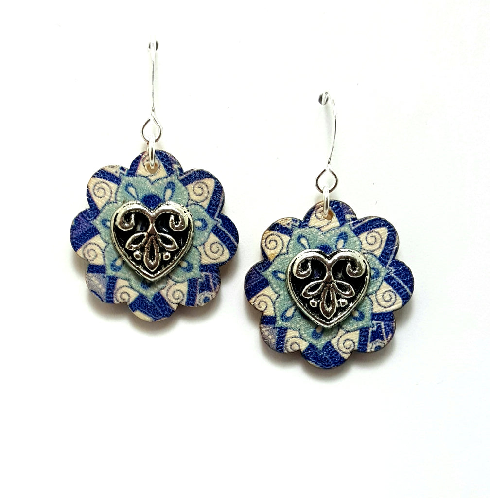 Blue Wooden Flower Dangle Earrings - Lunga Vita Designs