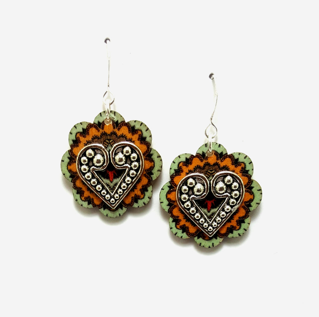 Mint and Mustard Wooden Flower Dangle Earrings - Lunga Vita Designs