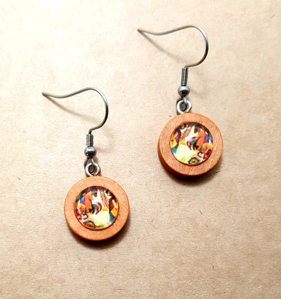 Round Wooden Dangle Earrings with Art Under Glass - Lunga Vita Designs