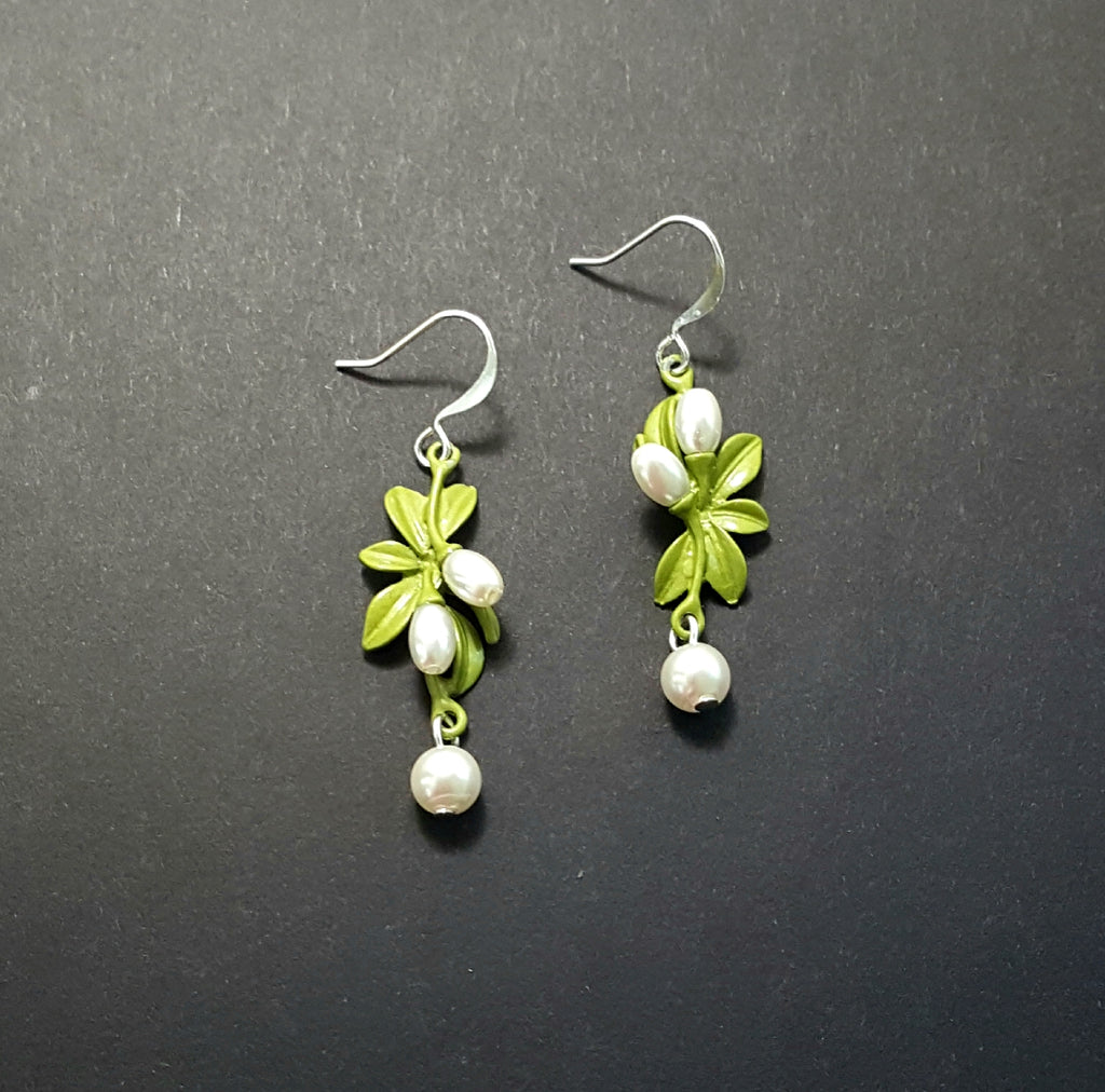 Green Enamel Leaf Cluster Dangle Earrings with Pearls - Lunga Vita Designs