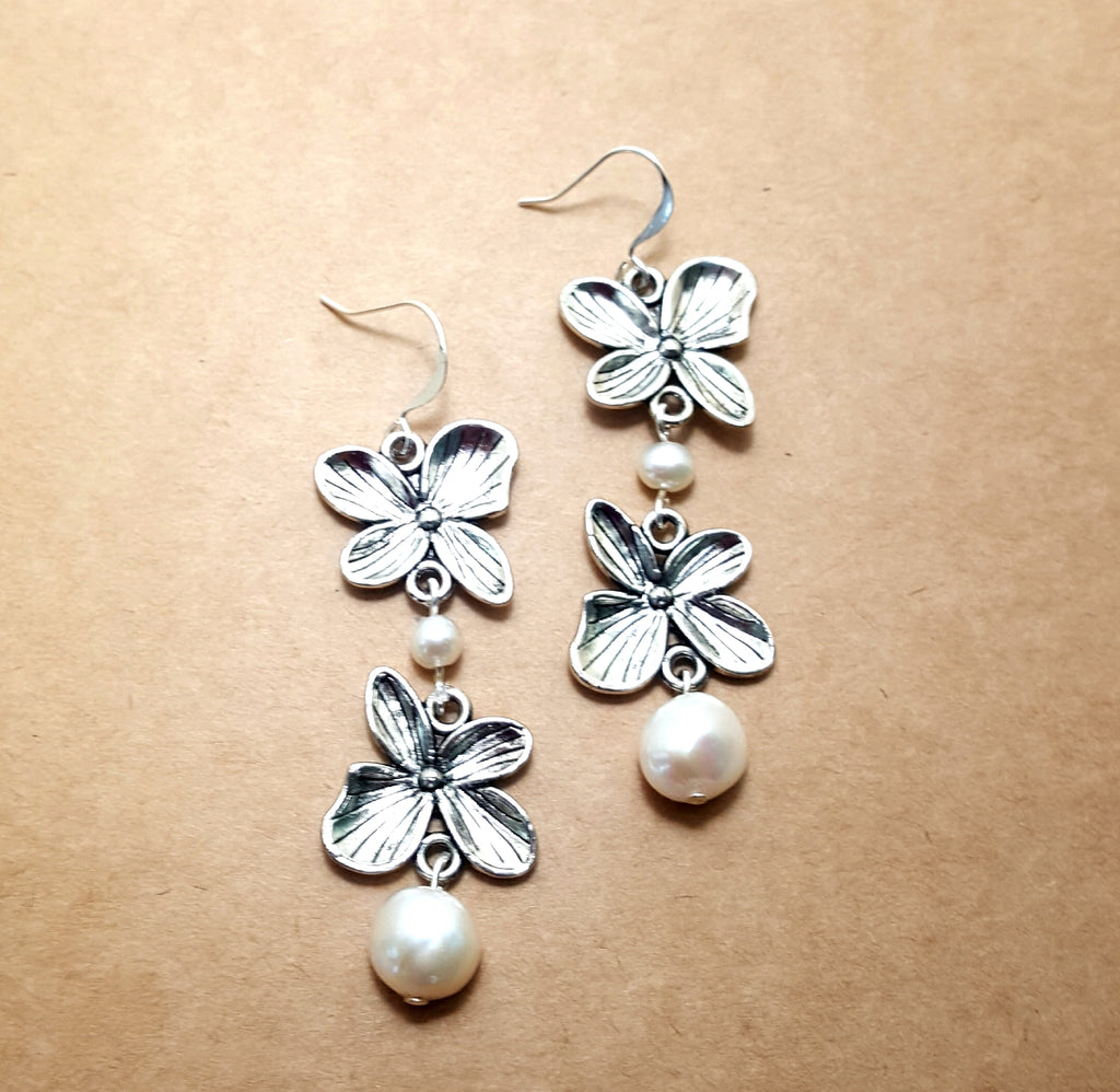 Two Flower Dangle Earrings with Freshwater Pearls - Lunga Vita Designs