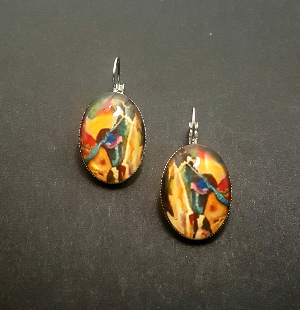Mustard Mixed Color Abstract Lever Back Earrings - Lunga Vita Designs