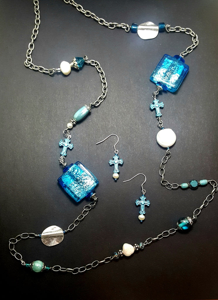 Aqua Art Glass and Crosses Long Necklace - Lunga Vita Designs