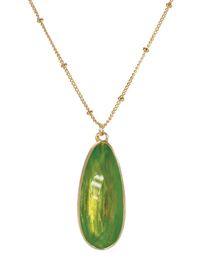 Resin Teardrop Pendant Necklace | Green - Lunga Vita Designs