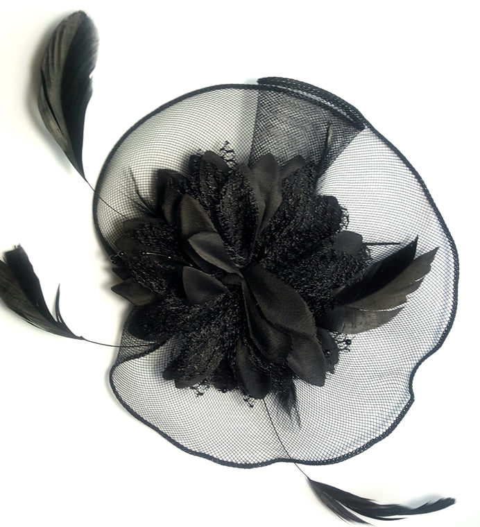 Black Flower and Feather Fascinator - Lunga Vita Designs