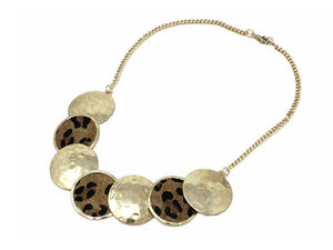 LEOPARD AND WORN GOLD CIRCLE NECKLACE