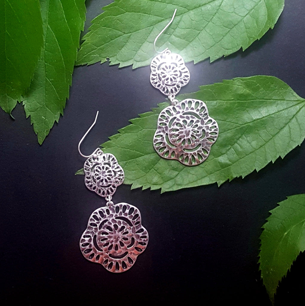 Organically Shaped Slotted Double Circle Dangle Earrings | Worn Silver - Lunga Vita Designs