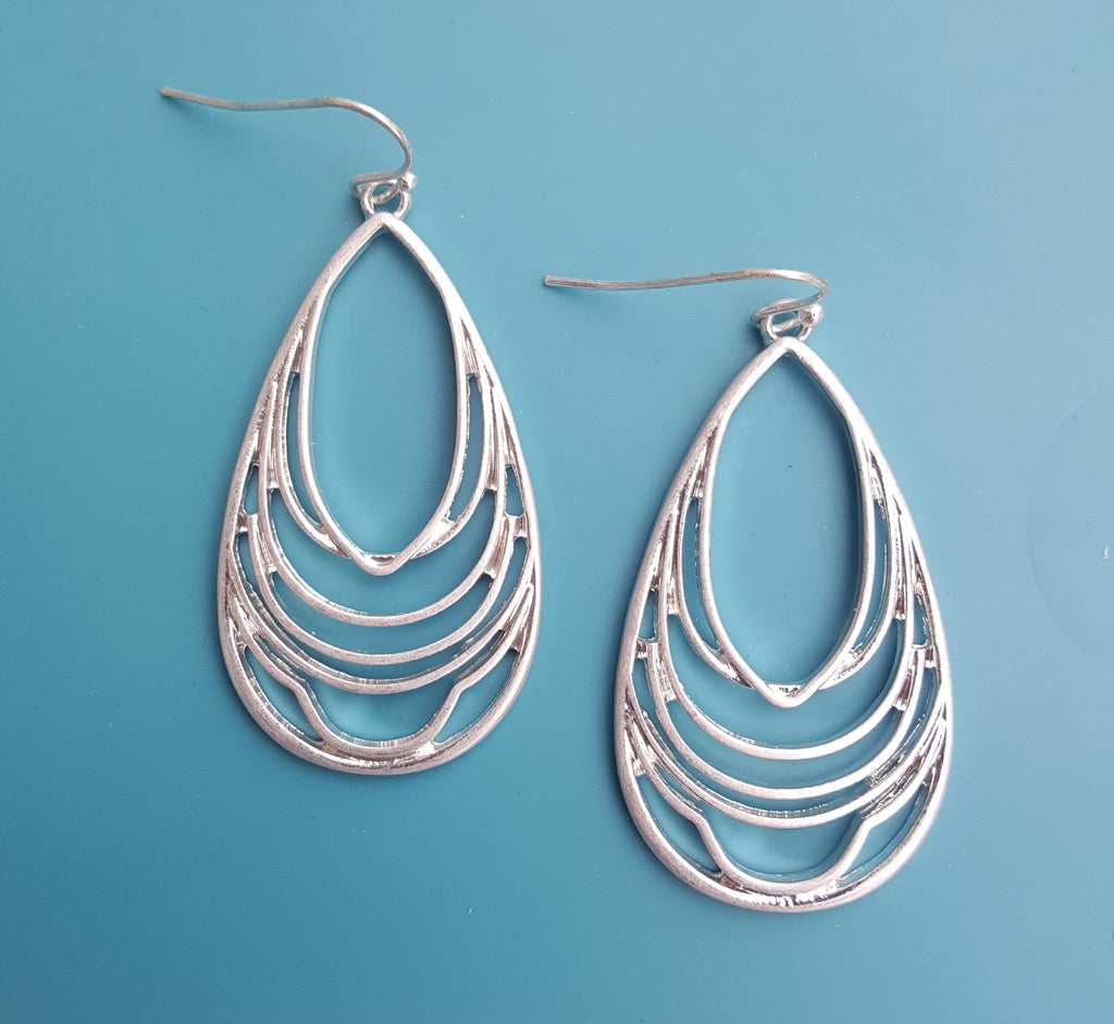 Layered Teardrop Worn Silver Dangle Earrings - Lunga Vita Designs