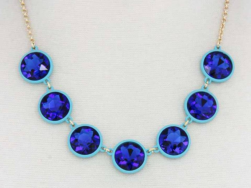 Faceted Sapphire Crystals Set in Pale Blue  Resin Necklace with Matching Dangle Earrings - Lunga Vita Designs