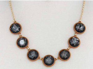 Faceted Black Diamond Crystals Set in Brown Resin Necklace with Matching Dangle Earrings - Lunga Vita Designs