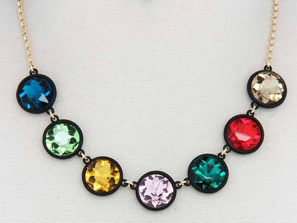 Faceted Multicolored Crystals Set in Black Resin Necklace with Matching Dangle Earrings - Lunga Vita Designs