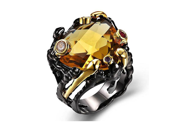 GUN METAL RING WITH GOLDEN YELLOW CUBIC ZIRCONIA