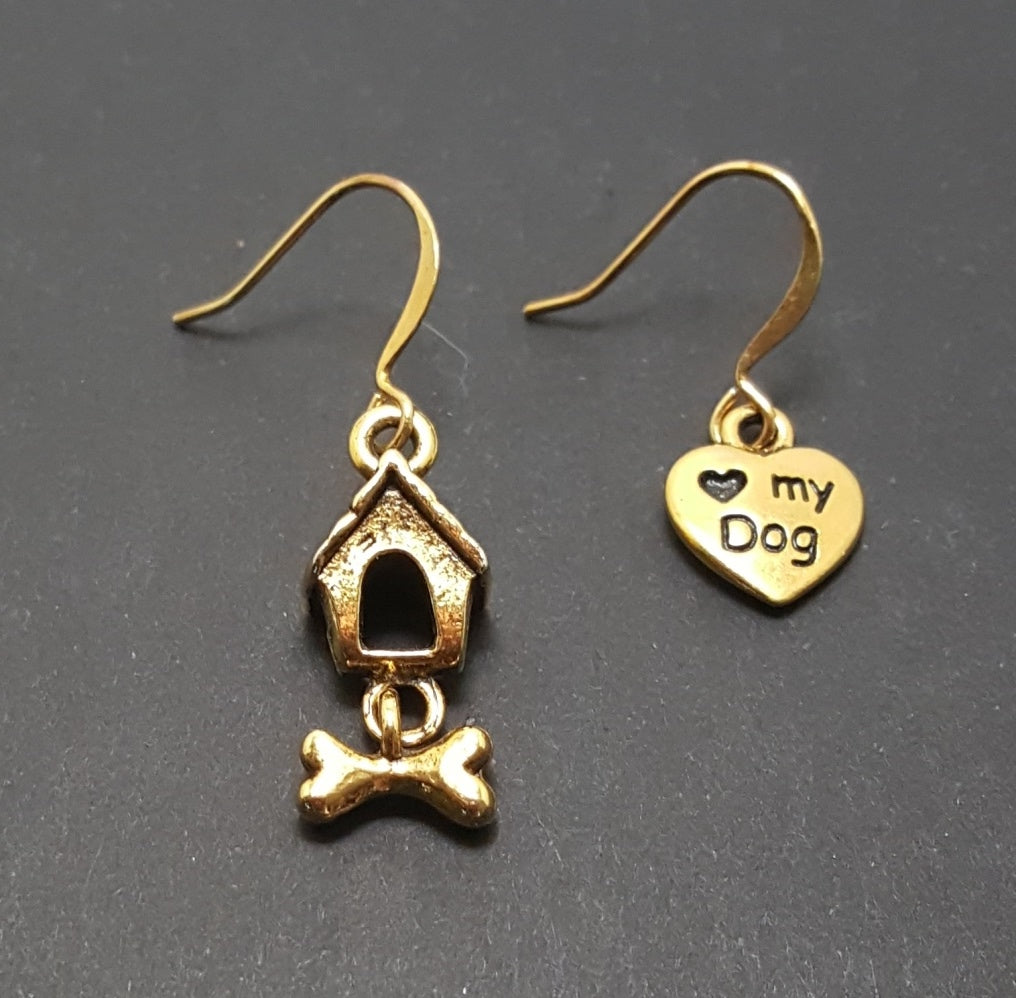 Dog House with Bone Asymmetrical Gold Dangle Earrings - Lunga Vita Designs
