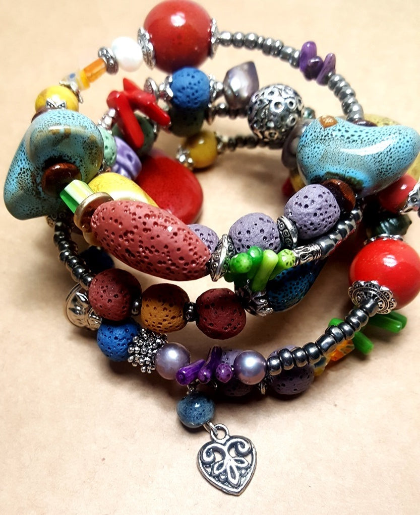 Brightly Colored Ceramic Handmade Bracelet - Lunga Vita Designs