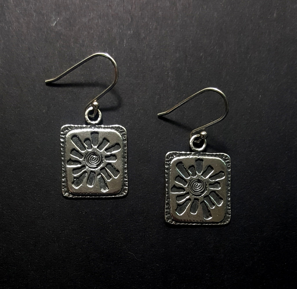 Sterling Silver Handmade Starburst Dangle Earrings - Lunga Vita Designs
